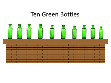 1o green bottles sitting on the wall